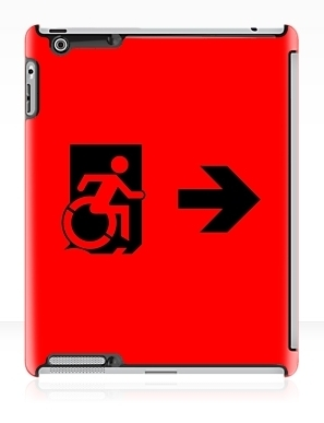 Accessible Means of Egress Icon Exit Sign Wheelchair Wheelie Running Man Symbol by Lee Wilson PWD Disability Emergency Evacuation iPad Case 164
