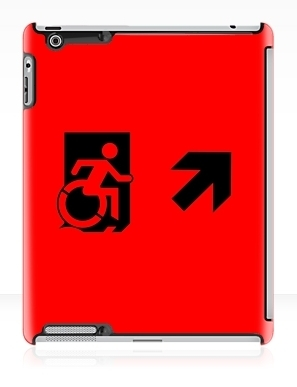Accessible Means of Egress Icon Exit Sign Wheelchair Wheelie Running Man Symbol by Lee Wilson PWD Disability Emergency Evacuation iPad Case 165