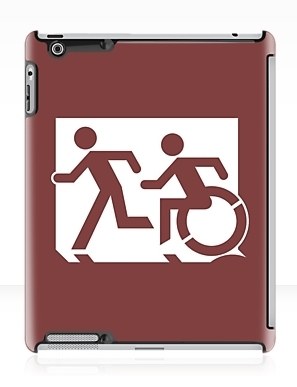 Accessible Means of Egress Icon Exit Sign Wheelchair Wheelie Running Man Symbol by Lee Wilson PWD Disability Emergency Evacuation iPad Case 1