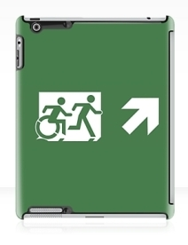Accessible Means of Egress Icon Exit Sign Wheelchair Wheelie Running Man Symbol by Lee Wilson PWD Disability Emergency Evacuation iPad Case 16