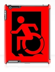 Accessible Means of Egress Icon Exit Sign Wheelchair Wheelie Running Man Symbol by Lee Wilson PWD Disability Emergency Evacuation iPad Case 17