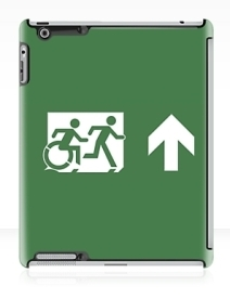 Accessible Means of Egress Icon Exit Sign Wheelchair Wheelie Running Man Symbol by Lee Wilson PWD Disability Emergency Evacuation iPad Case 18