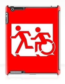 Accessible Means of Egress Icon Exit Sign Wheelchair Wheelie Running Man Symbol by Lee Wilson PWD Disability Emergency Evacuation iPad Case 19