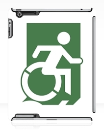 Accessible Means of Egress Icon Exit Sign Wheelchair Wheelie Running Man Symbol by Lee Wilson PWD Disability Emergency Evacuation iPad Case 20