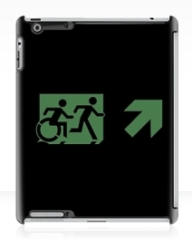 Accessible Means of Egress Icon Exit Sign Wheelchair Wheelie Running Man Symbol by Lee Wilson PWD Disability Emergency Evacuation iPad Case 2