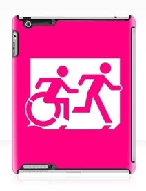 Accessible Means of Egress Icon Exit Sign Wheelchair Wheelie Running Man Symbol by Lee Wilson PWD Disability Emergency Evacuation iPad Case 21