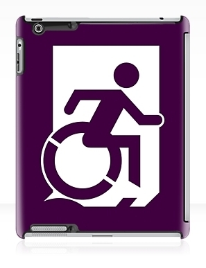 Accessible Means of Egress Icon Exit Sign Wheelchair Wheelie Running Man Symbol by Lee Wilson PWD Disability Emergency Evacuation iPad Case 22
