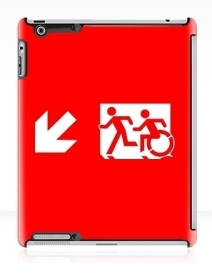 Accessible Means of Egress Icon Exit Sign Wheelchair Wheelie Running Man Symbol by Lee Wilson PWD Disability Emergency Evacuation iPad Case 23