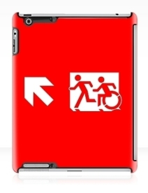 Accessible Means of Egress Icon Exit Sign Wheelchair Wheelie Running Man Symbol by Lee Wilson PWD Disability Emergency Evacuation iPad Case 24