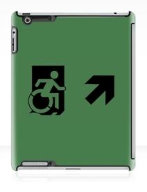 Accessible Means of Egress Icon Exit Sign Wheelchair Wheelie Running Man Symbol by Lee Wilson PWD Disability Emergency Evacuation iPad Case 25
