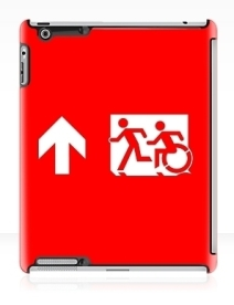 Accessible Means of Egress Icon Exit Sign Wheelchair Wheelie Running Man Symbol by Lee Wilson PWD Disability Emergency Evacuation iPad Case 26