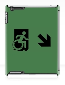 Accessible Means of Egress Icon Exit Sign Wheelchair Wheelie Running Man Symbol by Lee Wilson PWD Disability Emergency Evacuation iPad Case 27