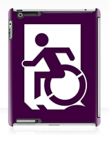 Accessible Means of Egress Icon Exit Sign Wheelchair Wheelie Running Man Symbol by Lee Wilson PWD Disability Emergency Evacuation iPad Case 28