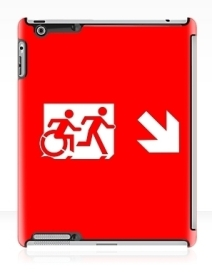 Accessible Means of Egress Icon Exit Sign Wheelchair Wheelie Running Man Symbol by Lee Wilson PWD Disability Emergency Evacuation iPad Case 29
