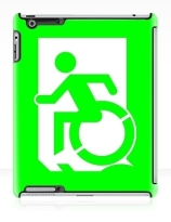 Accessible Means of Egress Icon Exit Sign Wheelchair Wheelie Running Man Symbol by Lee Wilson PWD Disability Emergency Evacuation iPad Case 3