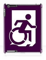 Accessible Means of Egress Icon Exit Sign Wheelchair Wheelie Running Man Symbol by Lee Wilson PWD Disability Emergency Evacuation iPad Case 30