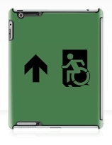 Accessible Means of Egress Icon Exit Sign Wheelchair Wheelie Running Man Symbol by Lee Wilson PWD Disability Emergency Evacuation iPad Case 31