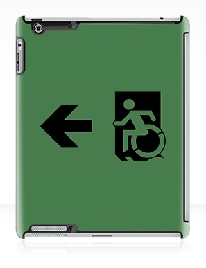 Accessible Means of Egress Icon Exit Sign Wheelchair Wheelie Running Man Symbol by Lee Wilson PWD Disability Emergency Evacuation iPad Case 32