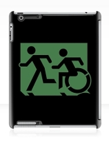 Accessible Means of Egress Icon Exit Sign Wheelchair Wheelie Running Man Symbol by Lee Wilson PWD Disability Emergency Evacuation iPad Case 33