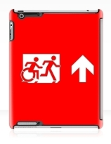 Accessible Means of Egress Icon Exit Sign Wheelchair Wheelie Running Man Symbol by Lee Wilson PWD Disability Emergency Evacuation iPad Case 34