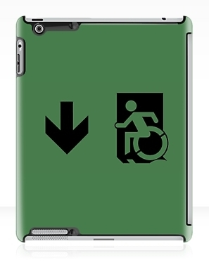 Accessible Means of Egress Icon Exit Sign Wheelchair Wheelie Running Man Symbol by Lee Wilson PWD Disability Emergency Evacuation iPad Case 35