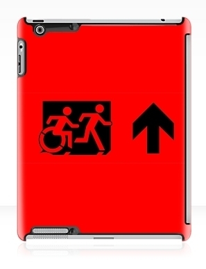 Accessible Means of Egress Icon Exit Sign Wheelchair Wheelie Running Man Symbol by Lee Wilson PWD Disability Emergency Evacuation iPad Case 36