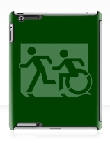 Accessible Means of Egress Icon Exit Sign Wheelchair Wheelie Running Man Symbol by Lee Wilson PWD Disability Emergency Evacuation iPad Case 37