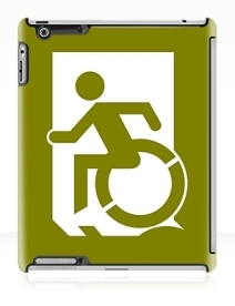 Accessible Means of Egress Icon Exit Sign Wheelchair Wheelie Running Man Symbol by Lee Wilson PWD Disability Emergency Evacuation iPad Case 38