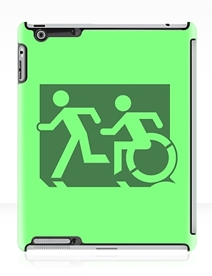 Accessible Means of Egress Icon Exit Sign Wheelchair Wheelie Running Man Symbol by Lee Wilson PWD Disability Emergency Evacuation iPad Case 39