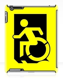 Accessible Means of Egress Icon Exit Sign Wheelchair Wheelie Running Man Symbol by Lee Wilson PWD Disability Emergency Evacuation iPad Case 4