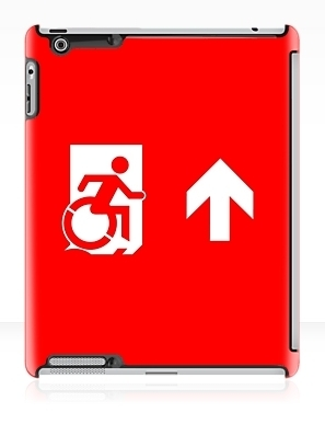 Accessible Means of Egress Icon Exit Sign Wheelchair Wheelie Running Man Symbol by Lee Wilson PWD Disability Emergency Evacuation iPad Case 40