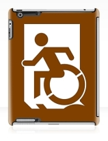 Accessible Means of Egress Icon Exit Sign Wheelchair Wheelie Running Man Symbol by Lee Wilson PWD Disability Emergency Evacuation iPad Case 41