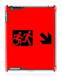Accessible Means of Egress Icon Exit Sign Wheelchair Wheelie Running Man Symbol by Lee Wilson PWD Disability Emergency Evacuation iPad Case 42
