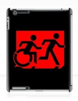 Accessible Means of Egress Icon Exit Sign Wheelchair Wheelie Running Man Symbol by Lee Wilson PWD Disability Emergency Evacuation iPad Case 43