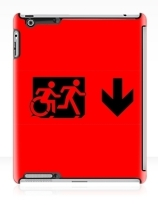 Accessible Means of Egress Icon Exit Sign Wheelchair Wheelie Running Man Symbol by Lee Wilson PWD Disability Emergency Evacuation iPad Case 44