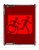 Accessible Means of Egress Icon Exit Sign Wheelchair Wheelie Running Man Symbol by Lee Wilson PWD Disability Emergency Evacuation iPad Case 45