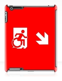 Accessible Means of Egress Icon Exit Sign Wheelchair Wheelie Running Man Symbol by Lee Wilson PWD Disability Emergency Evacuation iPad Case 46