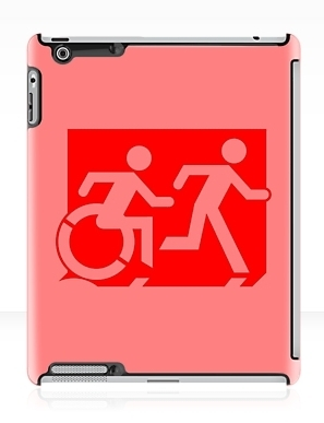 Accessible Means of Egress Icon Exit Sign Wheelchair Wheelie Running Man Symbol by Lee Wilson PWD Disability Emergency Evacuation iPad Case 47