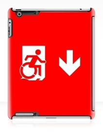 Accessible Means of Egress Icon Exit Sign Wheelchair Wheelie Running Man Symbol by Lee Wilson PWD Disability Emergency Evacuation iPad Case 48