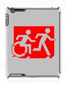 Accessible Means of Egress Icon Exit Sign Wheelchair Wheelie Running Man Symbol by Lee Wilson PWD Disability Emergency Evacuation iPad Case 49