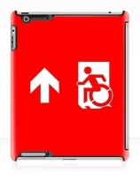 Accessible Means of Egress Icon Exit Sign Wheelchair Wheelie Running Man Symbol by Lee Wilson PWD Disability Emergency Evacuation iPad Case 50