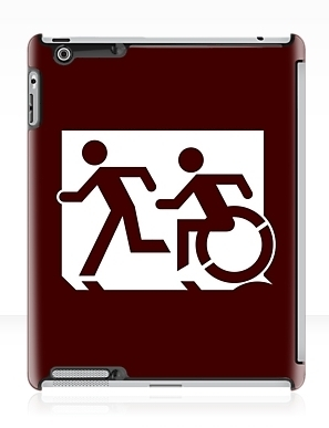 Accessible Means of Egress Icon Exit Sign Wheelchair Wheelie Running Man Symbol by Lee Wilson PWD Disability Emergency Evacuation iPad Case 51