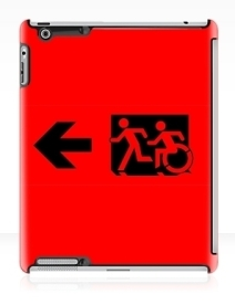 Accessible Means of Egress Icon Exit Sign Wheelchair Wheelie Running Man Symbol by Lee Wilson PWD Disability Emergency Evacuation iPad Case 52