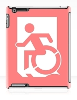 Accessible Means of Egress Icon Exit Sign Wheelchair Wheelie Running Man Symbol by Lee Wilson PWD Disability Emergency Evacuation iPad Case 53