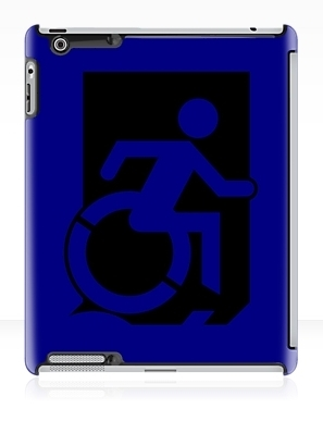 Accessible Means of Egress Icon Exit Sign Wheelchair Wheelie Running Man Symbol by Lee Wilson PWD Disability Emergency Evacuation iPad Case 54