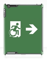 Accessible Means of Egress Icon Exit Sign Wheelchair Wheelie Running Man Symbol by Lee Wilson PWD Disability Emergency Evacuation iPad Case 55
