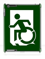 Accessible Means of Egress Icon Exit Sign Wheelchair Wheelie Running Man Symbol by Lee Wilson PWD Disability Emergency Evacuation iPad Case 56