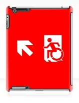 Accessible Means of Egress Icon Exit Sign Wheelchair Wheelie Running Man Symbol by Lee Wilson PWD Disability Emergency Evacuation iPad Case 57