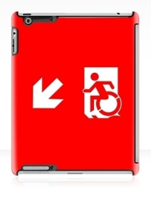 Accessible Means of Egress Icon Exit Sign Wheelchair Wheelie Running Man Symbol by Lee Wilson PWD Disability Emergency Evacuation iPad Case 59