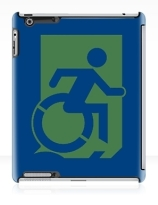 Accessible Means of Egress Icon Exit Sign Wheelchair Wheelie Running Man Symbol by Lee Wilson PWD Disability Emergency Evacuation iPad Case 60